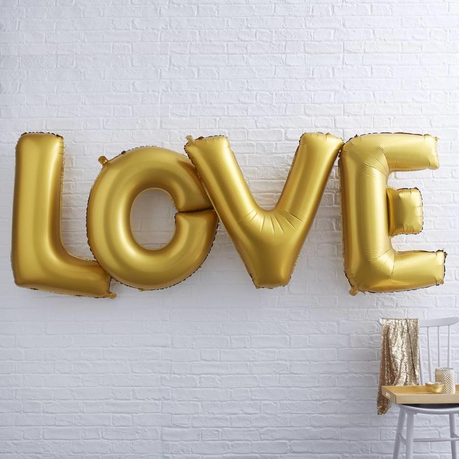 Folieballon goud LOVE-2