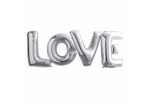 Folieballon zilver LOVE