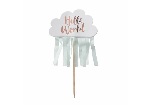Cupcake toppers Hello World (10 stuks)