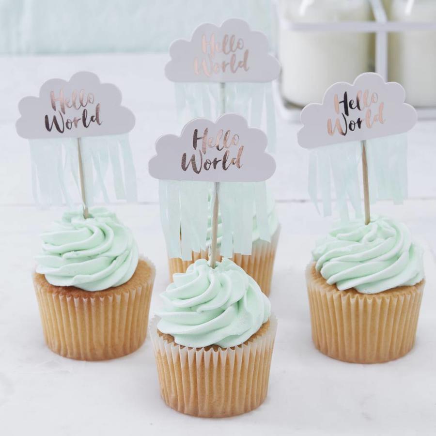 Cupcake toppers Hello World (10 stuks)-2