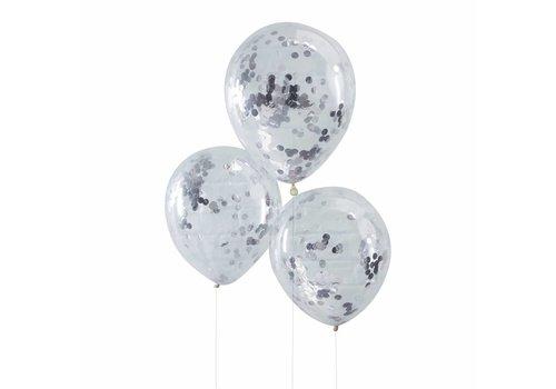 Confetti ballon zilver (5 stuks)