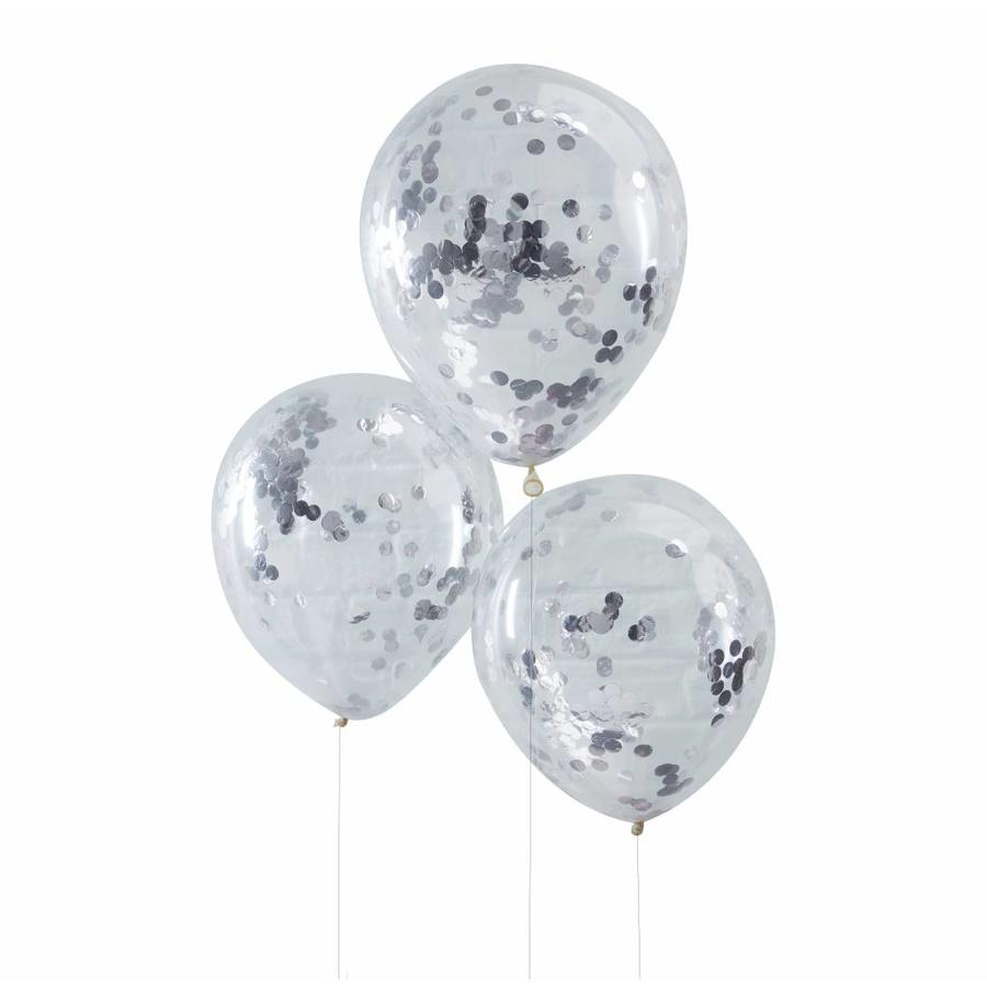 Confetti ballon zilver (5 stuks)-1