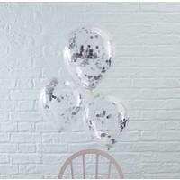 thumb-Confetti ballon zilver (5 stuks)-2