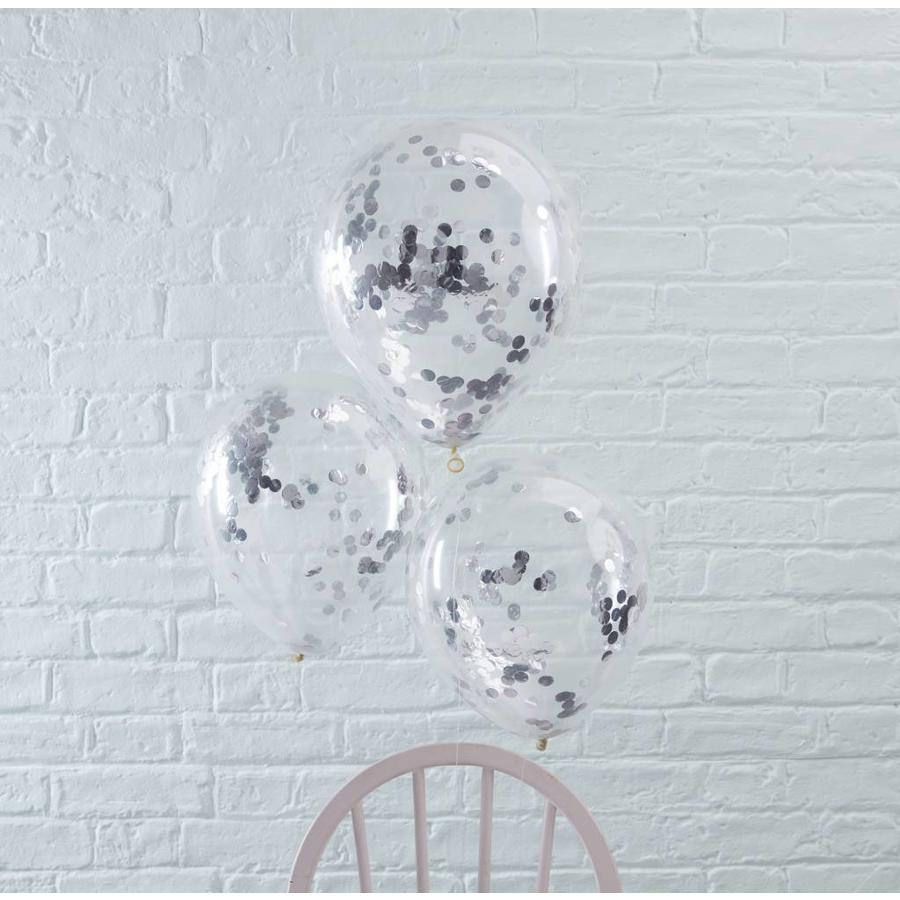 Confetti ballon zilver (5 stuks)-2