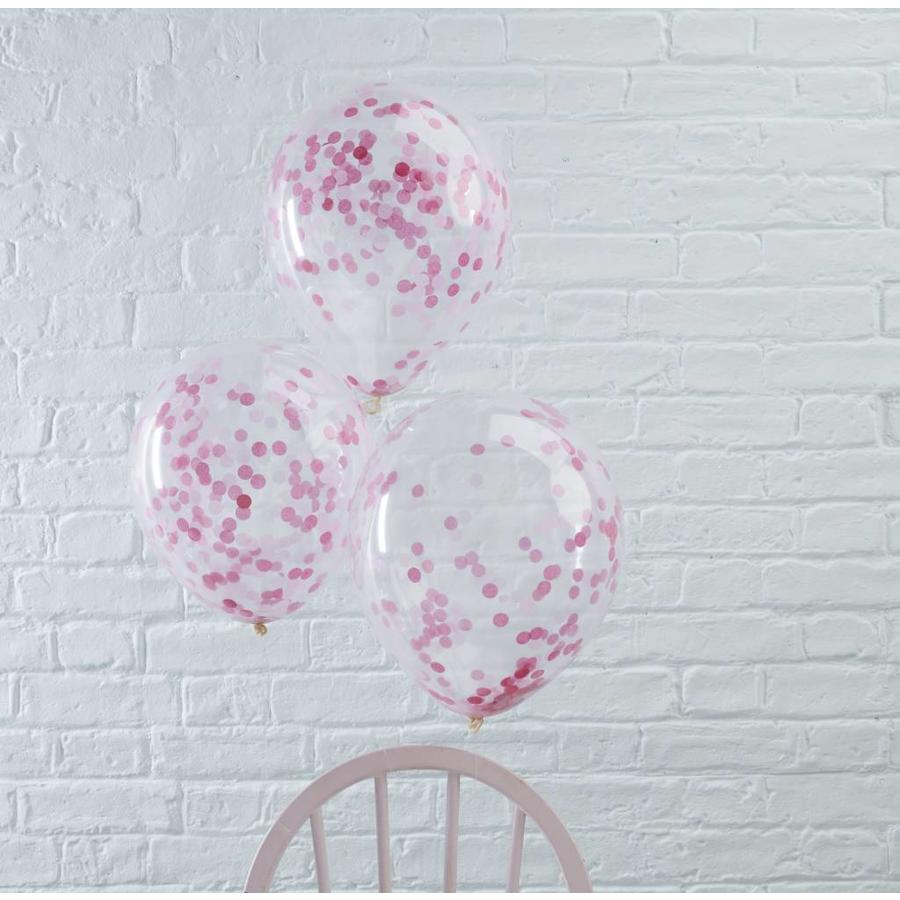 Confetti ballon roze (5 stuks)-2