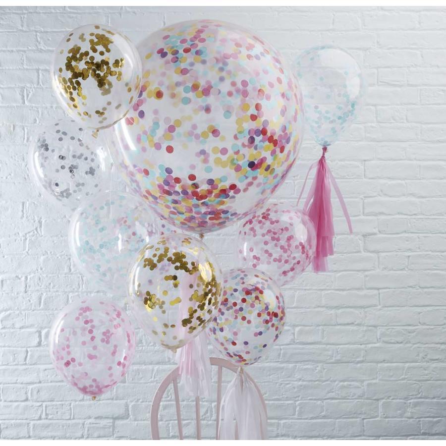 Confetti ballon blauw (5 stuks)-3