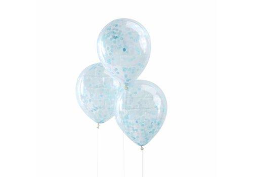 Ballon 30cm Confetti Bleu (5 pcs)