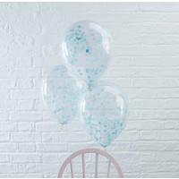 thumb-Ballon 30cm Confetti Bleu (5 pcs)-2