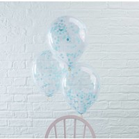 thumb-Confetti ballon blauw (5 stuks)-2