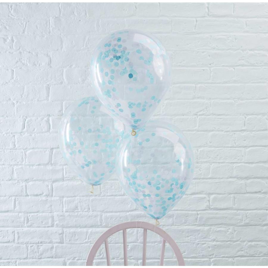 Ballon 30cm Confetti Bleu (5 pcs)-2