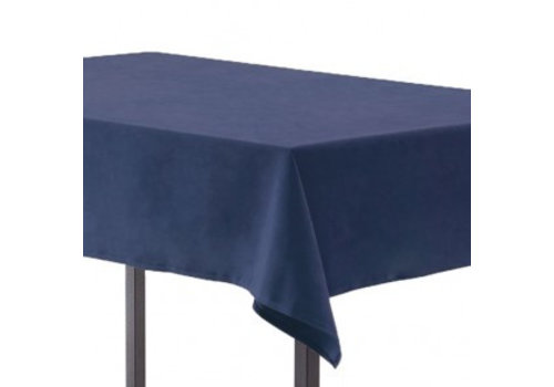 Blauw linnen tafelkleed groot (verhuur)