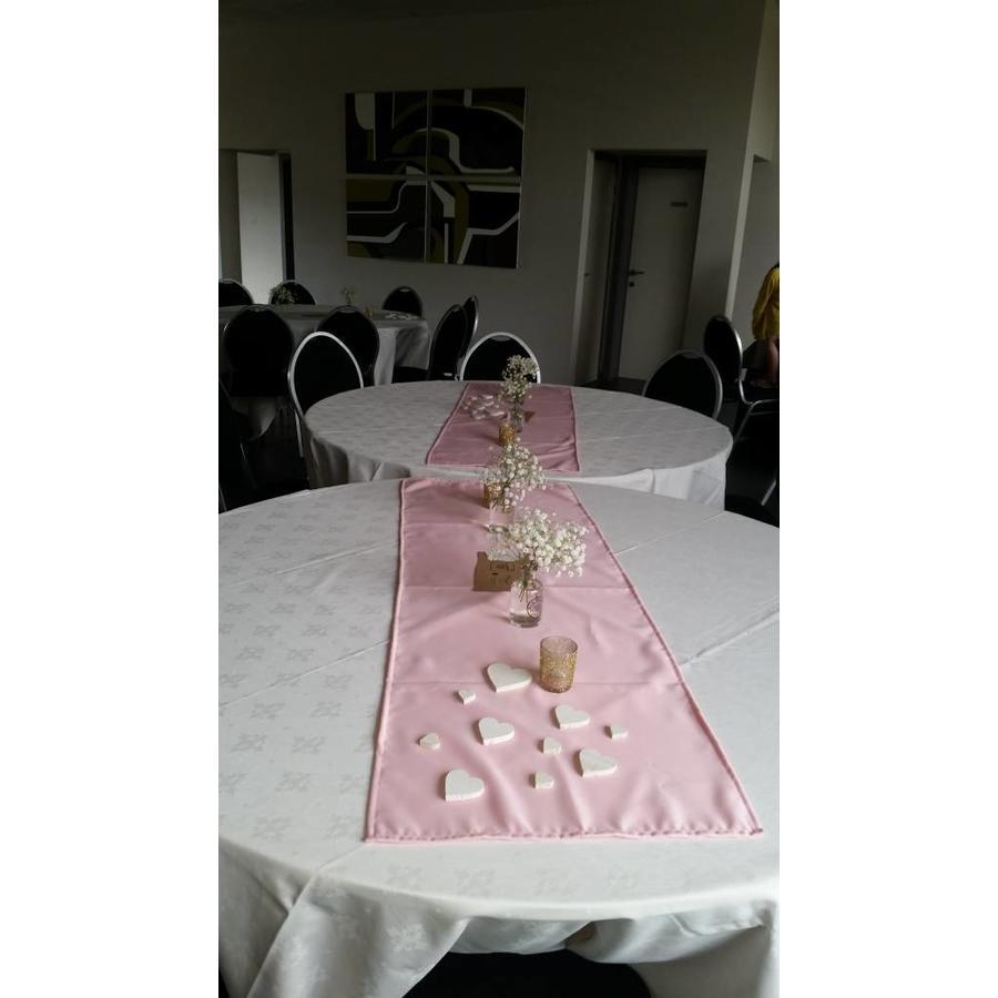 Roze  linnen tafelloper (verhuur)-2