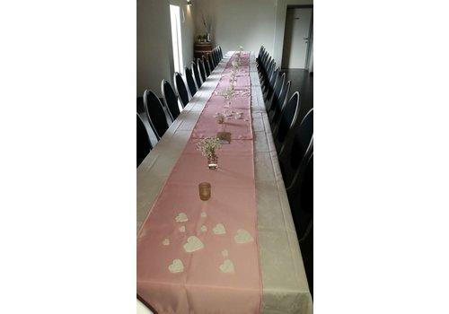 Roze  linnen tafelloper (verhuur)