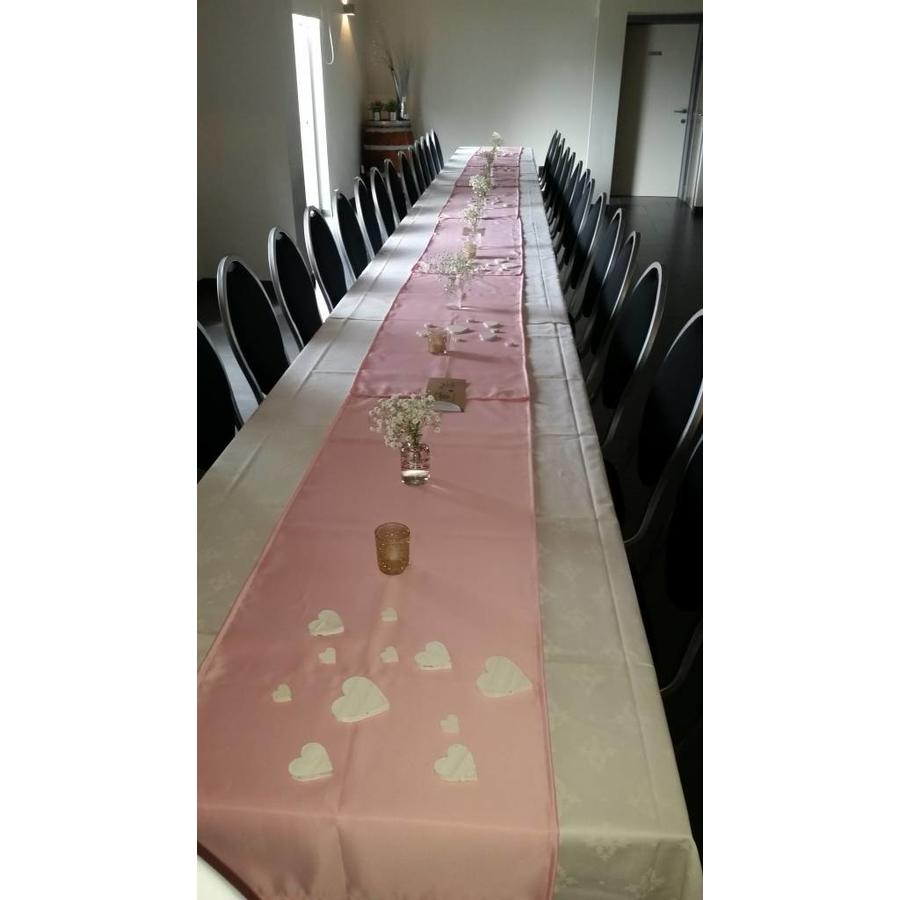 Roze  linnen tafelloper (verhuur)-1