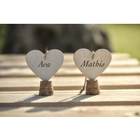 thumb-Marque-place coeur naturel (4 pieces)-4