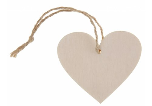 Houten hartje naturel met koortje (4 stuks)