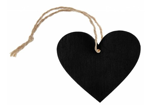 Houten hartje zwart met koortje (4 stuks)