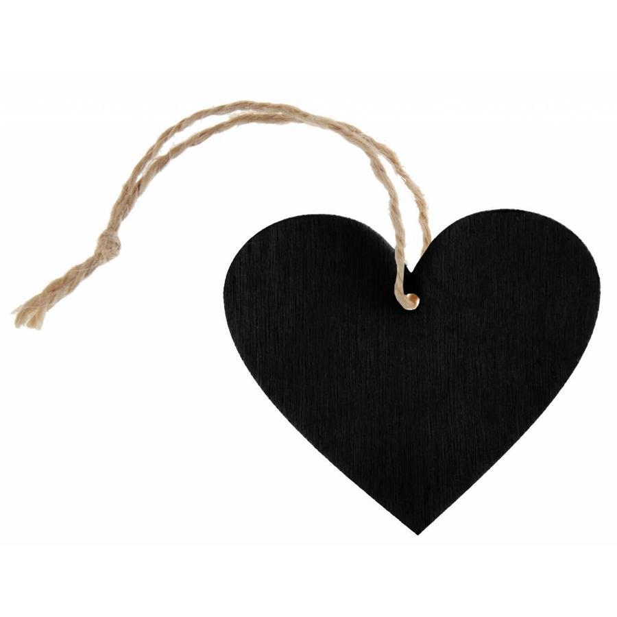 Houten hartje zwart met koortje (4 stuks)-1
