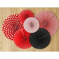 thumb-Papieren waaiers rood met zwart (3 stuks)-2
