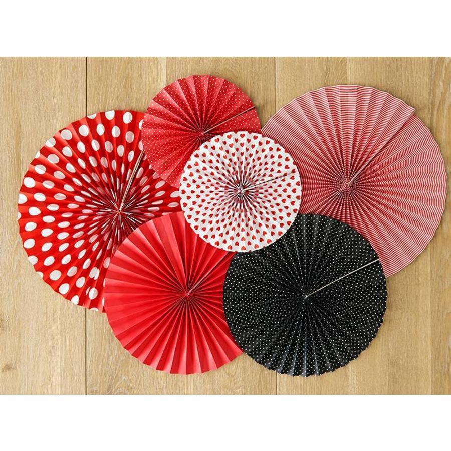 Papieren waaiers rood met zwart (3 stuks)-2