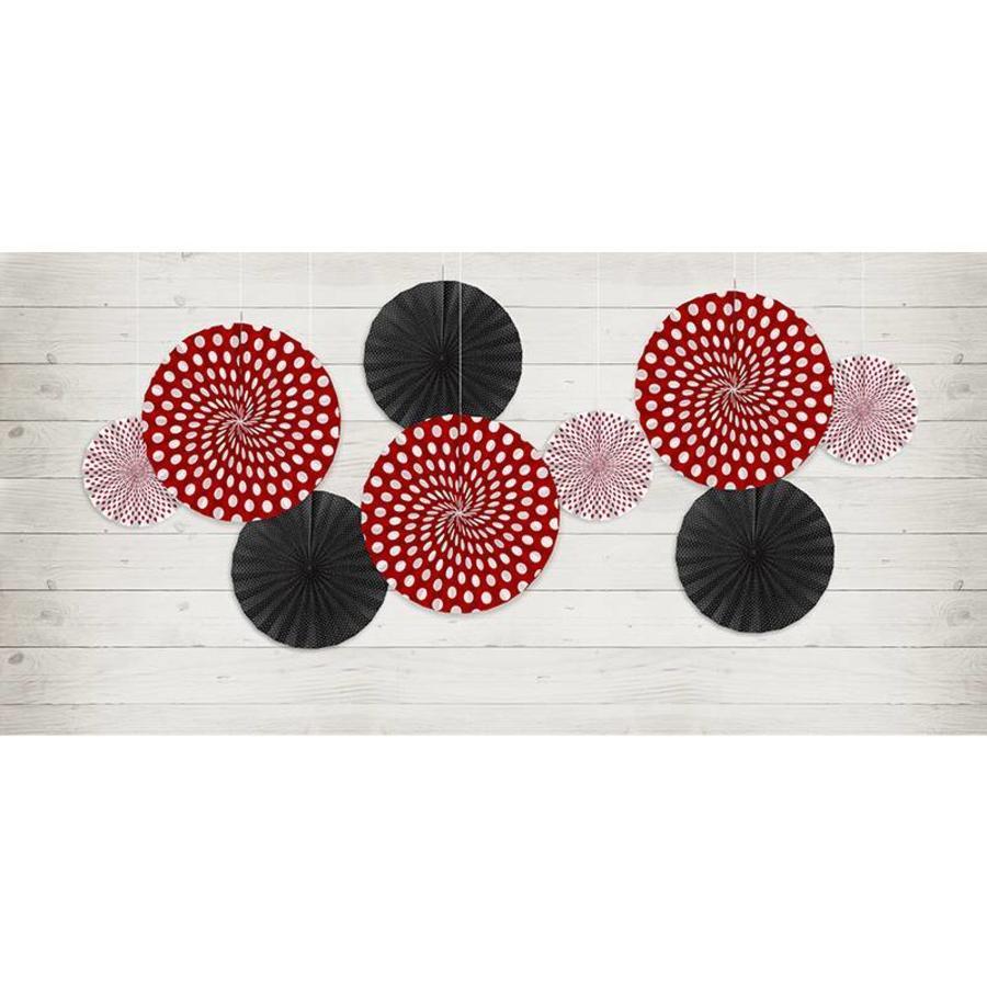 Papieren waaiers rood met zwart (3 stuks)-3