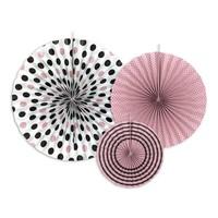 thumb-Papieren waaier roze met zwart (3 stuks)-1