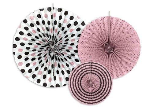 Papieren waaier roze met zwart (3 stuks)