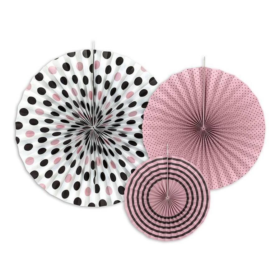 Papieren waaier roze met zwart (3 stuks)-1