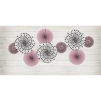 thumb-Papieren waaier roze met zwart (3 stuks)-3