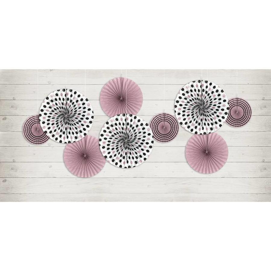 Papieren waaier roze met zwart (3 stuks)-3