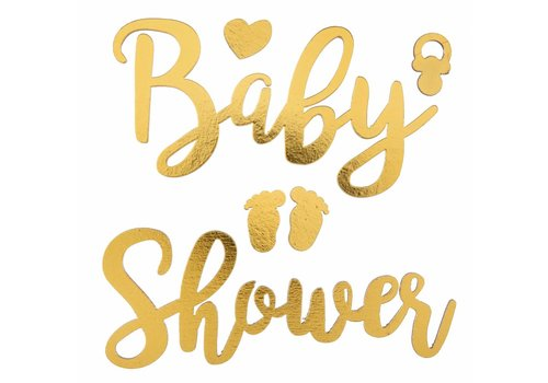 Sticker Babyshower goud