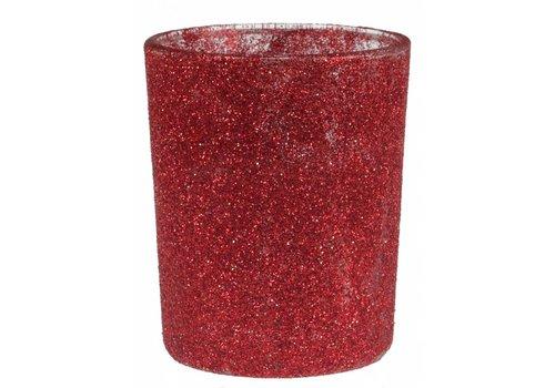Theelichthouder glitter rood (verhuur)