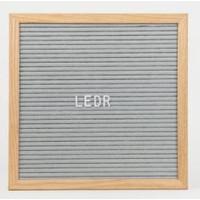 thumb-Letterbord vierkant hout grijs-1
