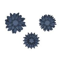 thumb-Papieren bloem blauw (3 stuks)-1
