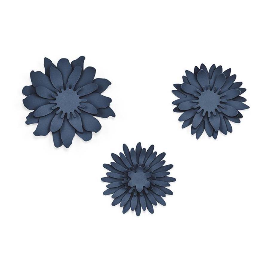 Papieren bloem blauw (3 stuks)-1