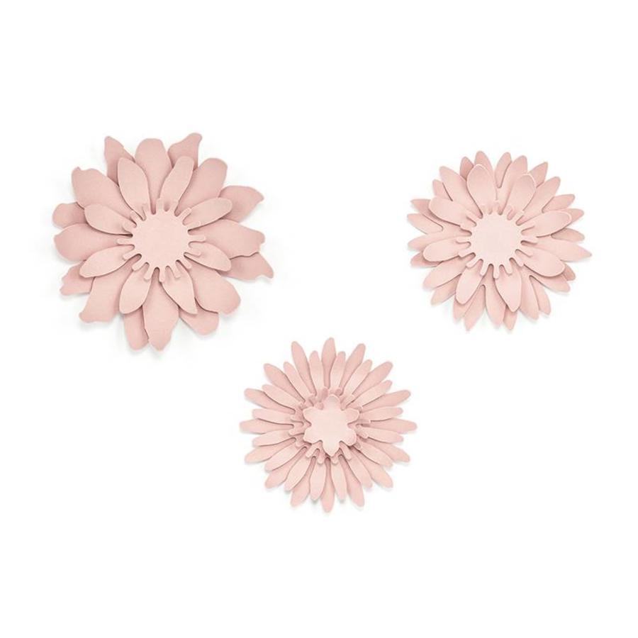 Papieren bloem roze (3 stuks)-2