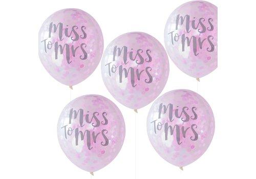 Confetti ballonen miss to mrs (5 stuks)