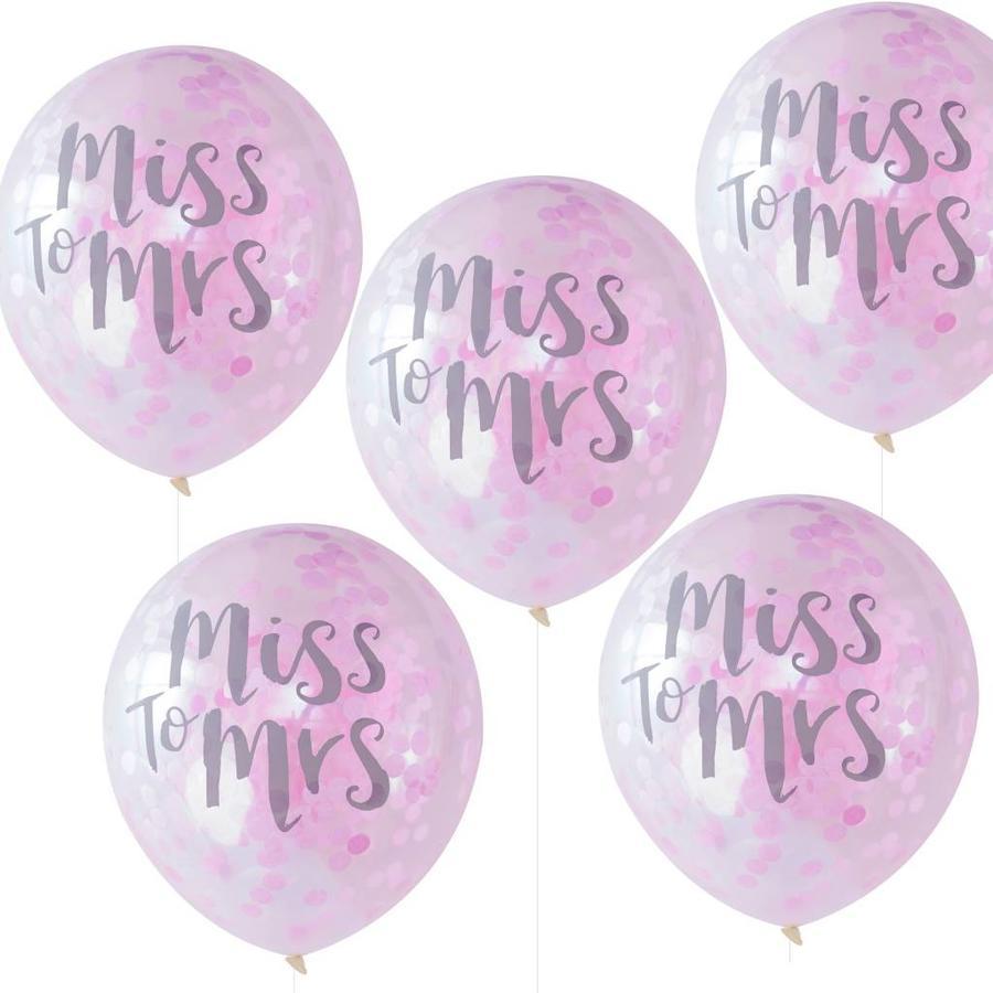 Confetti ballonen miss to mrs (5 stuks)-1