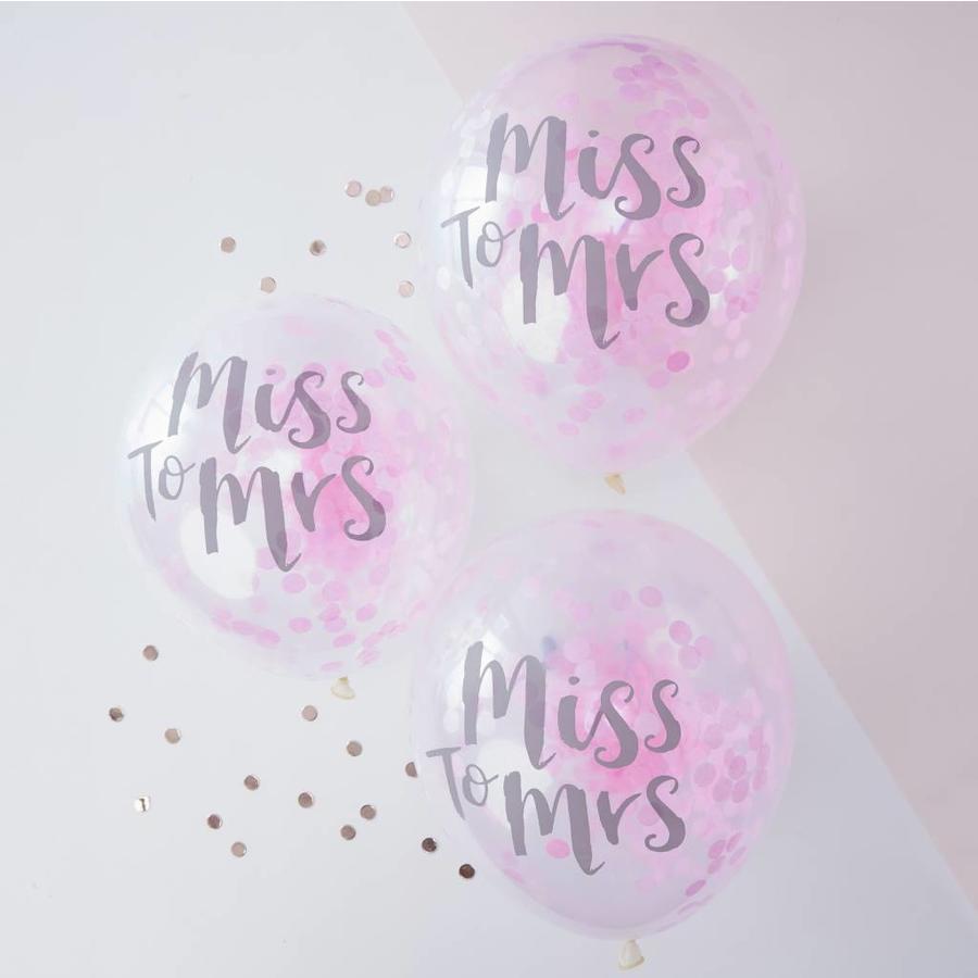Confetti ballonen miss to mrs (5 stuks)-2