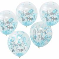 thumb-Ballonen About to pop blauw (5 stuks)-1