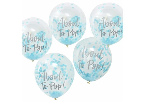 Ballonen About to pop blauw (5 stuks)