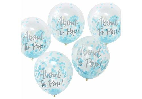 Ballons About to pop bleu (5 pièces)