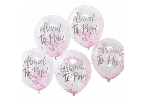Ballonen About to pop roze (5 stuks)