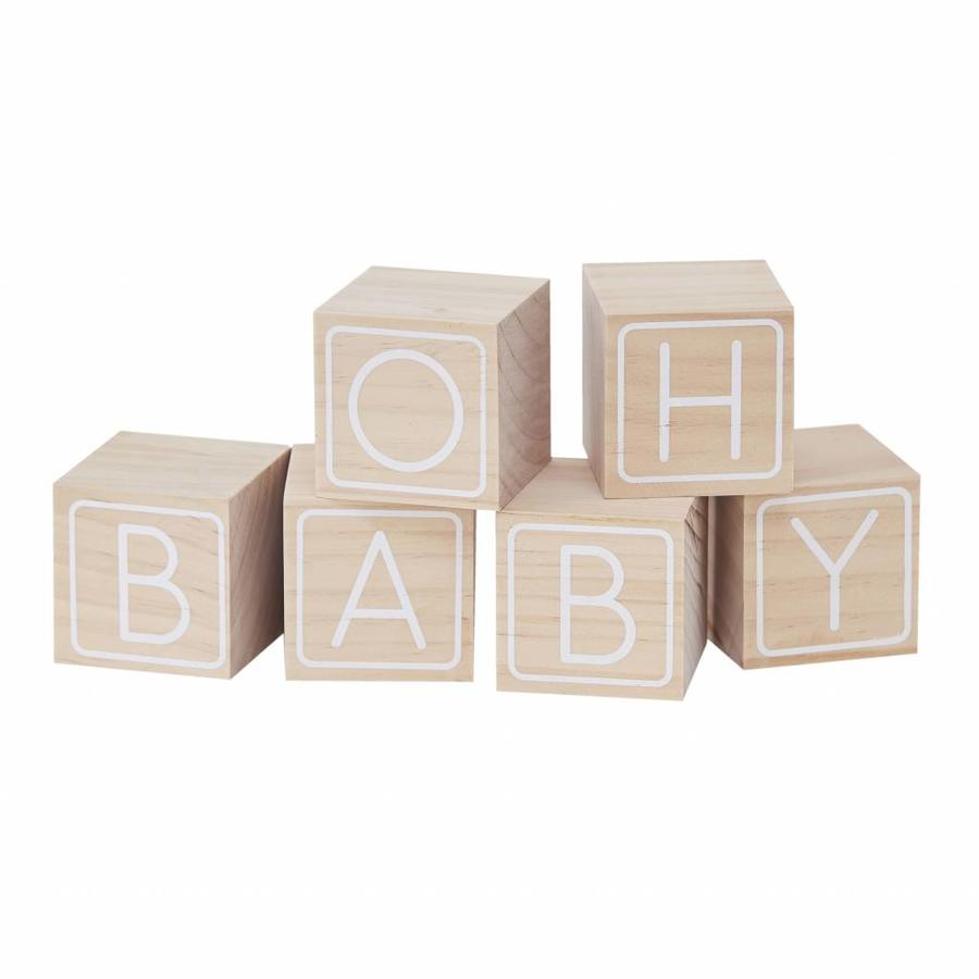 """Livre d'or - Cubes en bois """"Oh Baby""""-1"""