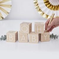 """thumb-Livre d'or - Cubes en bois """"Oh Baby""""-2"""