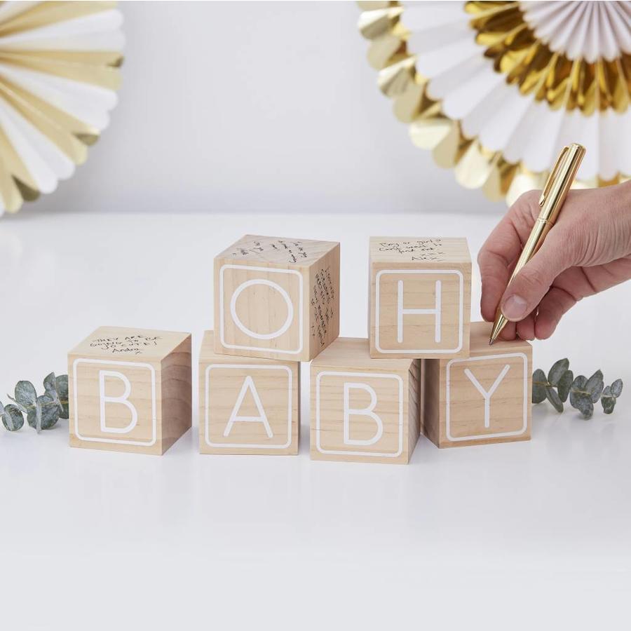 """Livre d'or - Cubes en bois """"Oh Baby""""-2"""