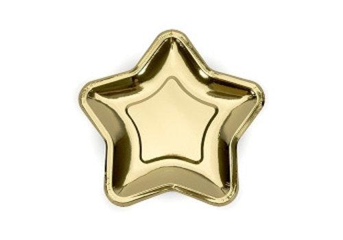 Gebaksbordje goud ster (6 stuks)
