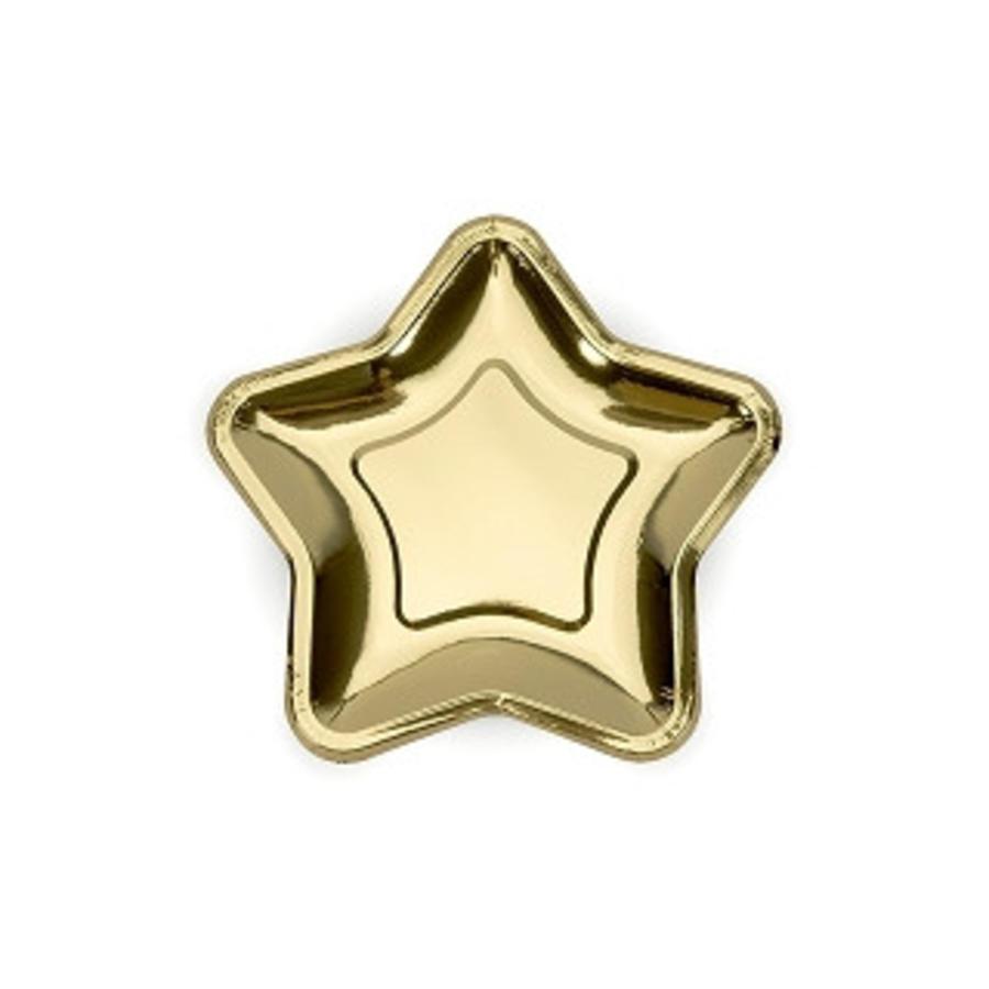 Gebaksbordje goud ster (6 stuks)-1