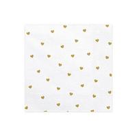 Serviettes en papier coeur or (20 pcs)