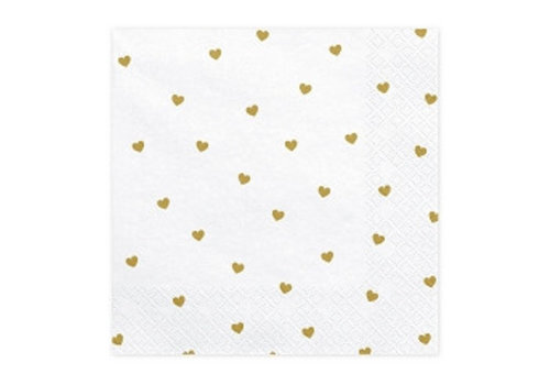 Serviettes en papier coeur or (20 pcs)